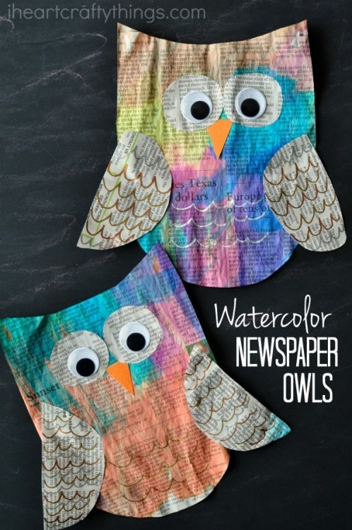 Colorful newspaper owl craft for kids i heart crafty things for Waste material craft work with newspaper