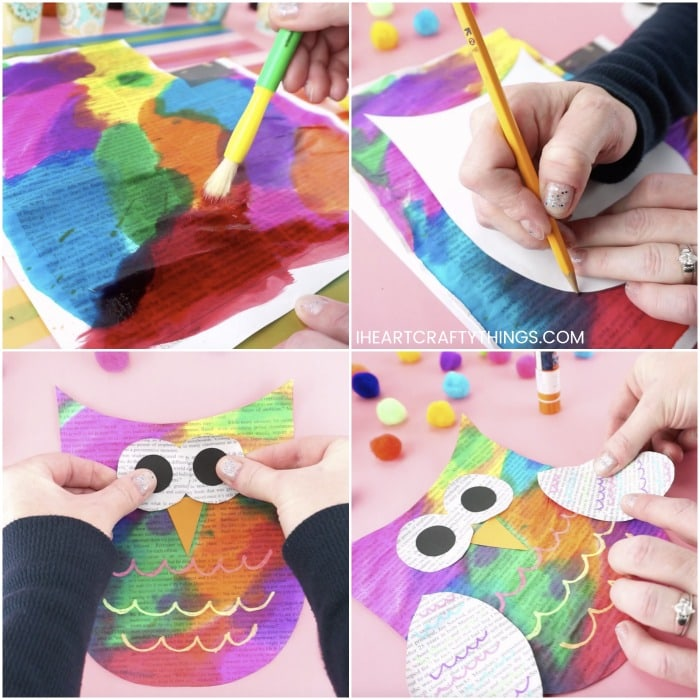 Four image collage showing someone painting newspaper with watercolors, tracing the template on newspaper and assembling the owl pieces together to make the owl craft.