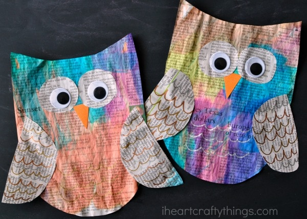 Two painted newspaper owl crafts laying side by side on a black chalkboard background.