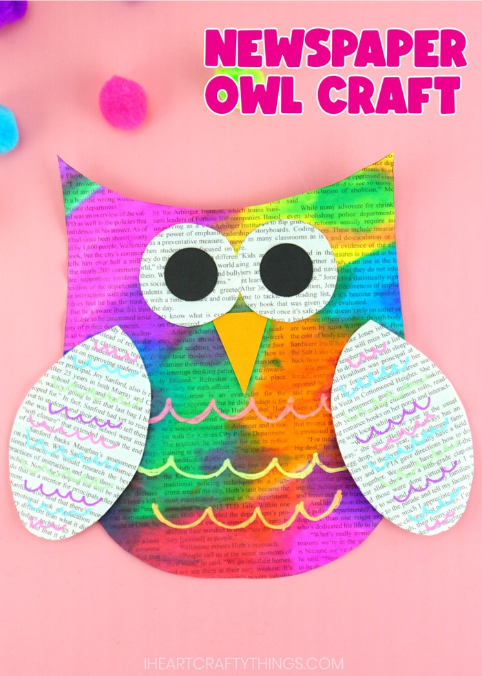 """Vertical close up image of painted newspaper owl craft on a pink background with the words """"Newspaper Owl Craft"""" in the top right corner."""