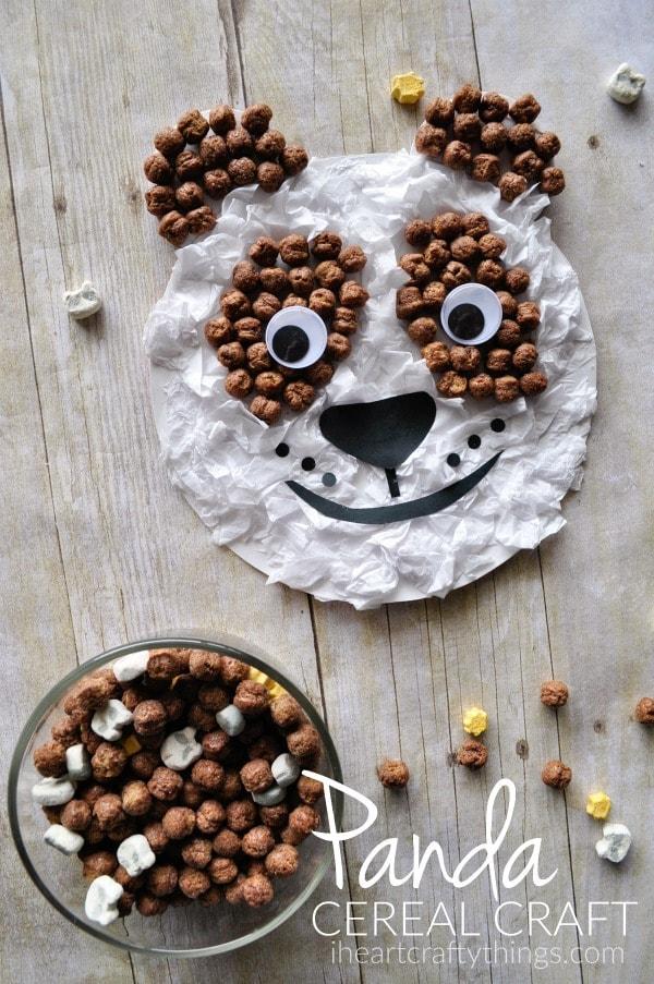 """Vertical image of Kung Fu panda craft at top and a bowl of Kung Fu Panda cereal at the bottom with the words """"Panda Cereal Craft"""" in the bottom right corner."""