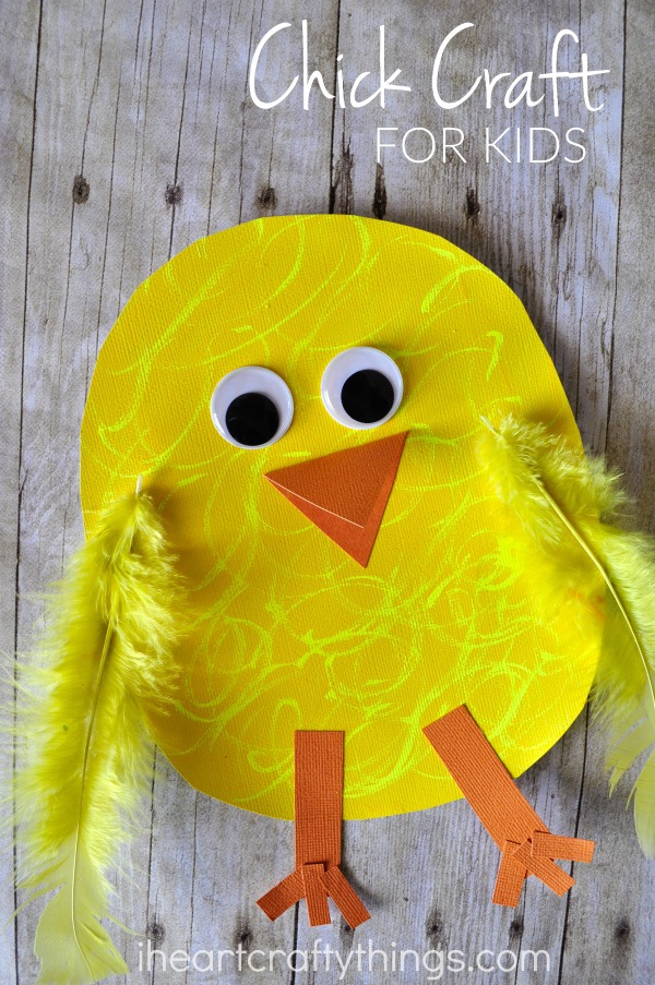 "Vertical image of finished chick craft with the words ""Chick Craft for Kids"" in the top right corner."
