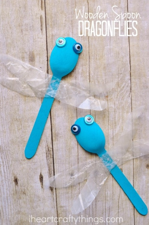 Simple wooden spoon dragonfly craft i heart crafty things for Wooden spoons for crafts