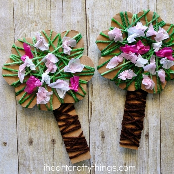 Yarn Wrapped Blossoming Spring Tree Craft | I Heart Crafty ...