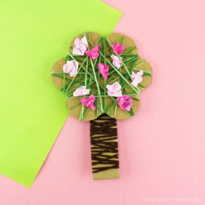 Yarn Wrapped Blossoming Spring Tree Craft