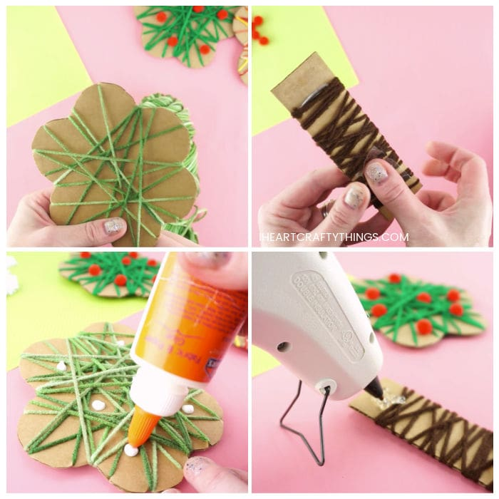 Four image collage showing adult wrapping green yarn around carboard tree top piece, adult wrapping brown yarn around tree trunk piece, adult adding glue and tissue paper flowers to tree top and adult hot gluing tree top onto tree trunk.