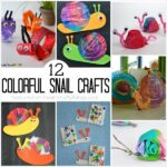 "collage showing snail crafts for kids with the text ""12 colorful snail crafts:"