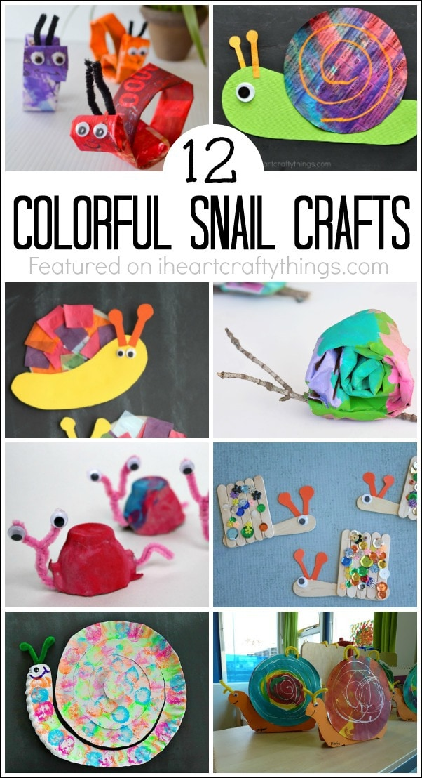 "vertical image of 8 different snail crafts kids can make with the text ""12 colorful snail crafts"""