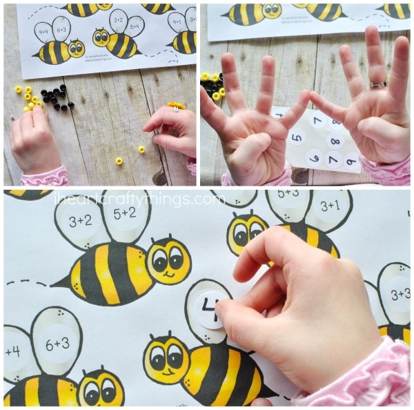 collage image showing child using their fingers to count, counting pony beads and placing the number sticker on the math printable.
