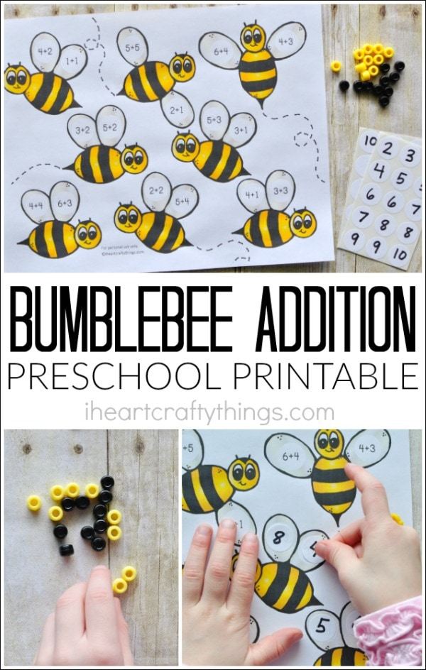 "collage image of addition preschool printable on top and child working on it on bottom with the words ""bumblebee addition preschool printable"" in the center."