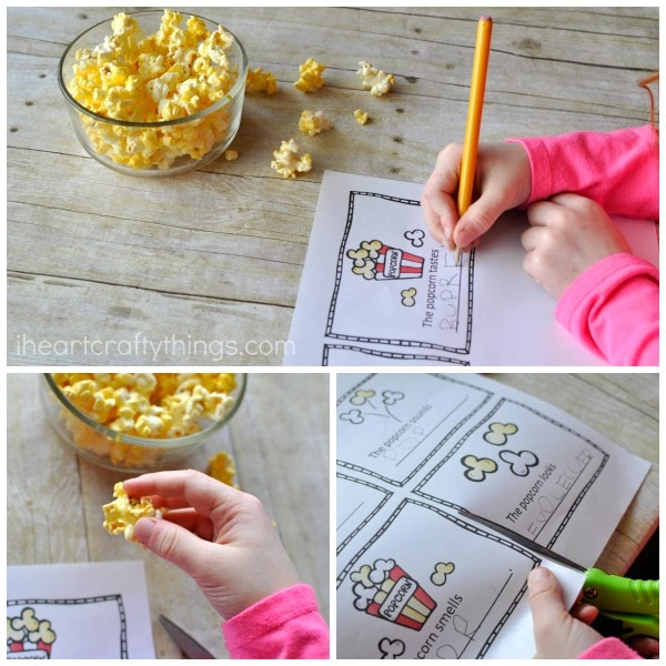 Collage image showing a child making the five senses mini book.
