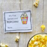 My Five Senses and Popcorn- Preschool Observation Mini Book Printable