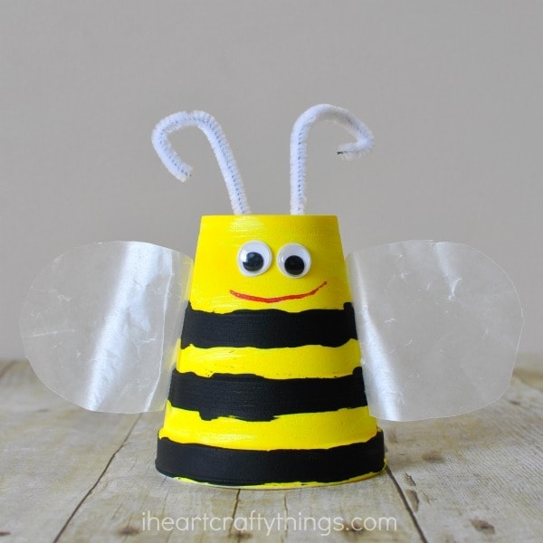 Close up image of bee craft made out of a foam cup.