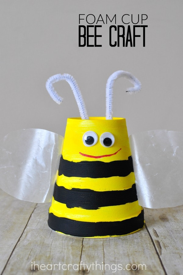 "vertical image of bee craft with the words ""foam cup bee craft"" in the top right corner"