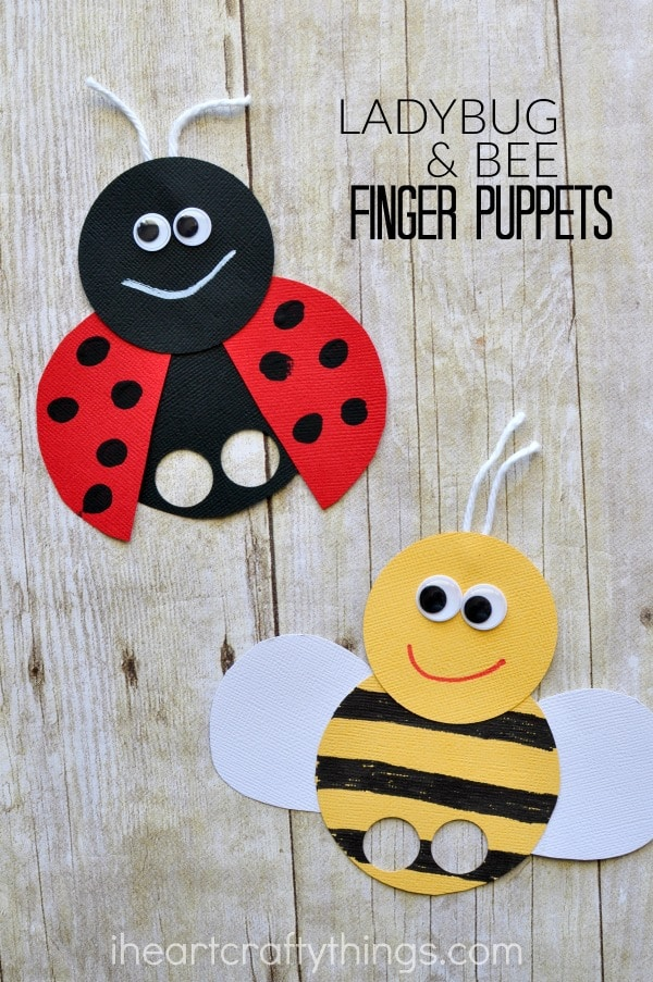 "vertical image of ladybug finger puppet and bee finger puppet with the words ""ladybug & bee finger puppets"" in top right corner."