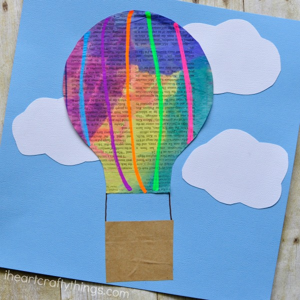 newspaper hot air balloon craft for kids i heart crafty