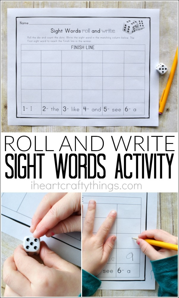 This Roll and Write Sight Words Activity is a fun way for preschoolers to learn their sight words. Customize the printable for any sight words.