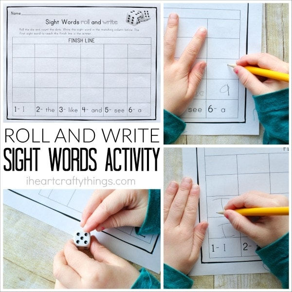 This Roll and Write Sight Words Activity is a fun way for preschoolers to learn their sight words. Customize the printable for any sight words