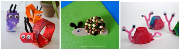 three image collage showing three snail craft ideas for kids