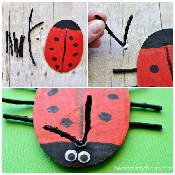 three images showing the steps for how to make a ladybug craft out of cardboard, sticks and paint.