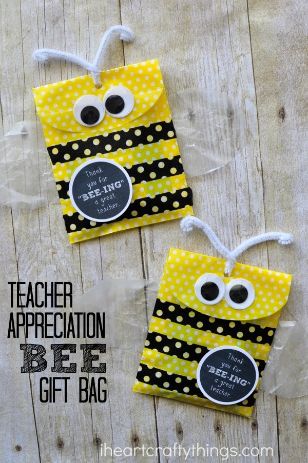 "vertical photo of two diy teacher gift bags with the words ""teacher appreciation bee gift bag"""