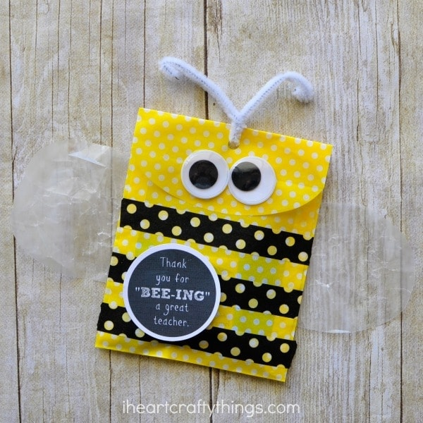Yellow, little gift bag turned into a bee for a teacher appreciation gift.