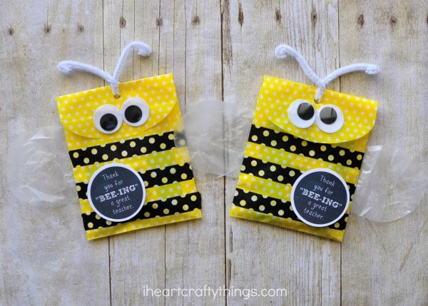 Yellow gift bags made into bees for a teacher appreciation gift