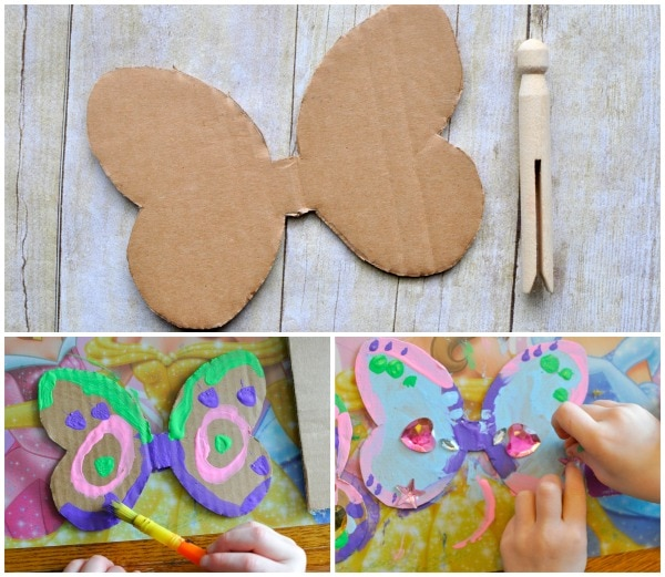 child painting their cardboard butterfly wings.