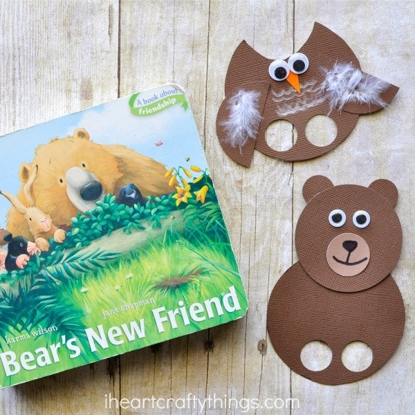 In honor of this adorable story we made this Bear's New Friend Craft. These bear and owl finger puppets are so cute for imaginative play time and you can use them to help you read and retell the story, Bear's New Friend. Fun animal craft for kids.