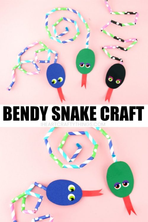 Paper Straw Bendy Snake Craft I Heart Crafty Things