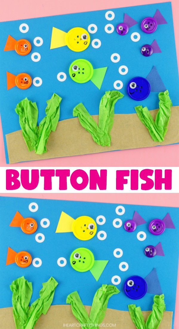 """vertical collage image with two close up images of finished button fish craft and the words """"button fish craft"""" in the center"""