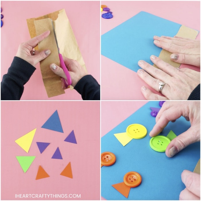 square collage image showing steps for making button fish craft