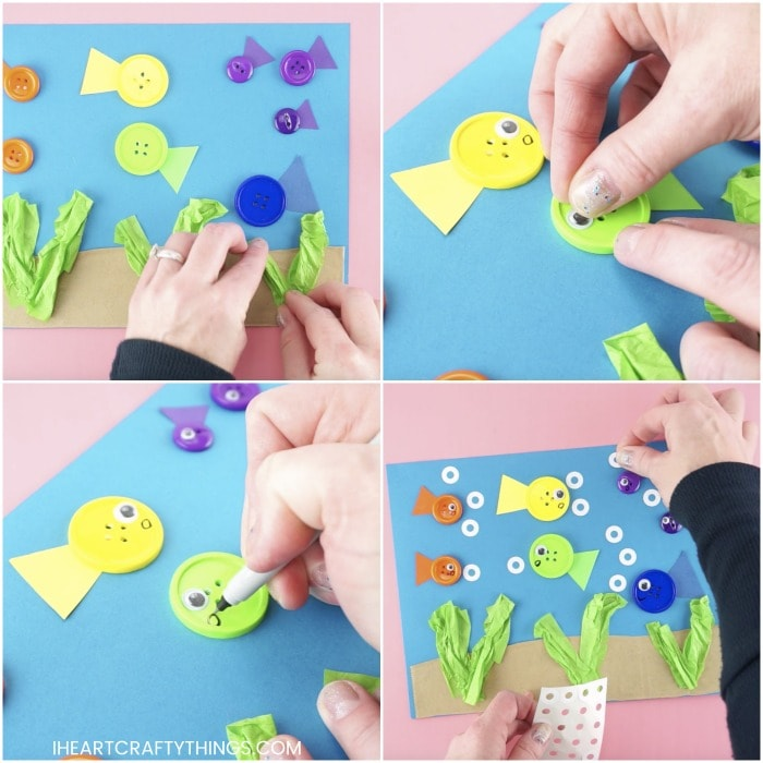 square collage image showing four steps for how to make a button fish craft