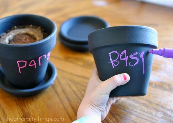 labeling your children's herb garden pots