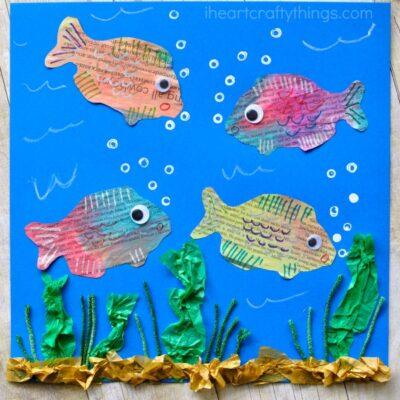 Mixed Media Newspaper Fish Art Project