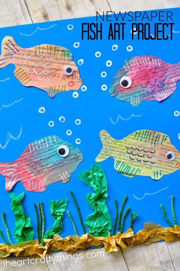 newspaper-fish-art-project