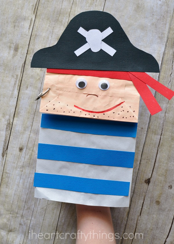 Paper bag pirate craft for kids i heart crafty things for Brown paper bag crafts for preschoolers