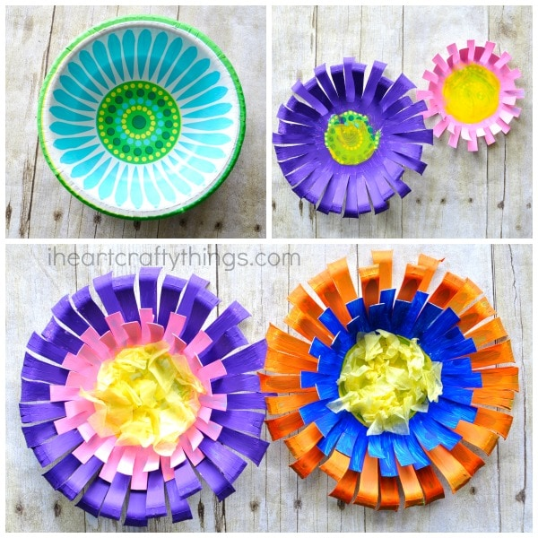Bright and colorful paper bowl Flower Craft for kids, perfect for a spring kids craft.