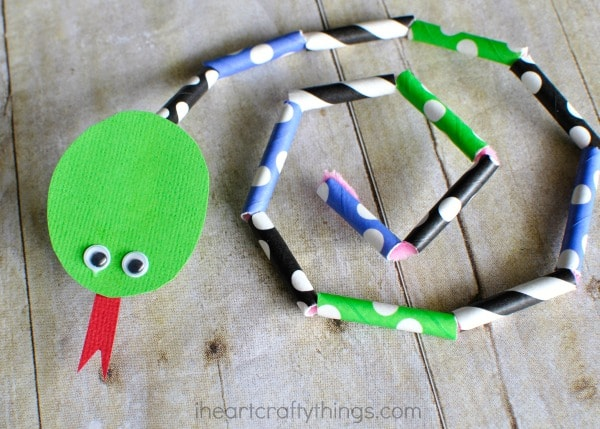 Paper Straw Snake Craft for Kids