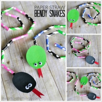 Cut up patterned paper straws and use them to design a bendy snake craft. Great for working on patterns and working fine motor muscles.