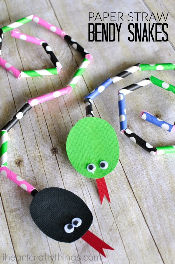 Paper straw bendy snake craft i heart crafty things for Easy things to make out of paper for kids