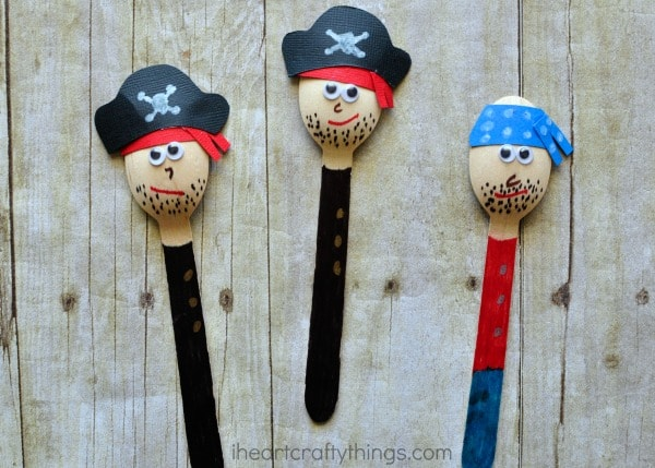 Awesome pirate craft for kids i heart crafty things for Wooden spoons for crafts