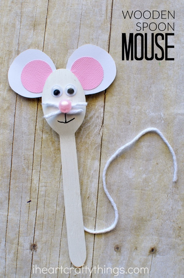 Wooden spoon mouse craft for kids i heart crafty things for Wood crafts for kids