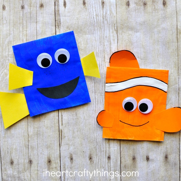 Finding dory craft envelope puppets i heart crafty things for Finding dory crafts for preschoolers