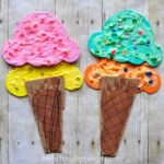This puffy paint and footprint ice cream cone craft screams summer time fun and the footprint cone makes it a perfect summer craft keepsake.