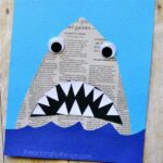 This newspaper shark craft for kids is amazingly simple to make and is great for kids of all ages so it makes a perfect activity for the whole family. Awesome shark week craft, recycled newspaper craft, ocean craft for kids and summer kids craft.