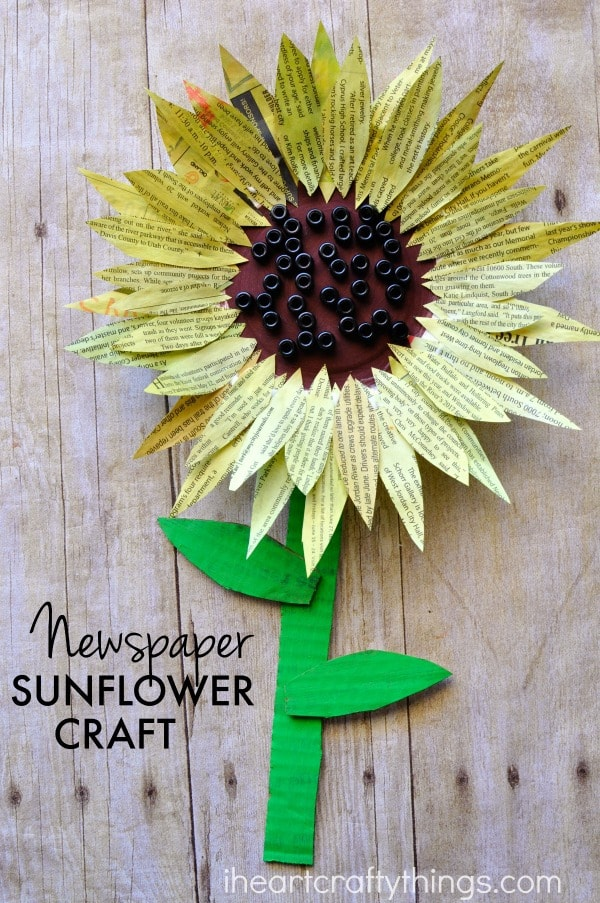 newspaper-sunflower-craft-2