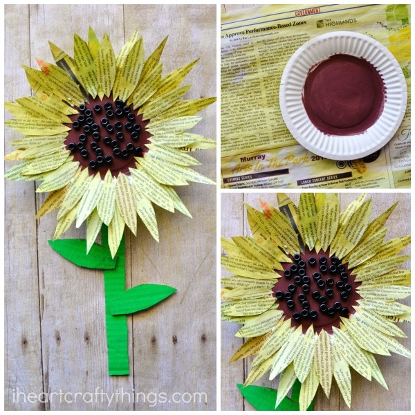 newspaper-sunflower-craft-3