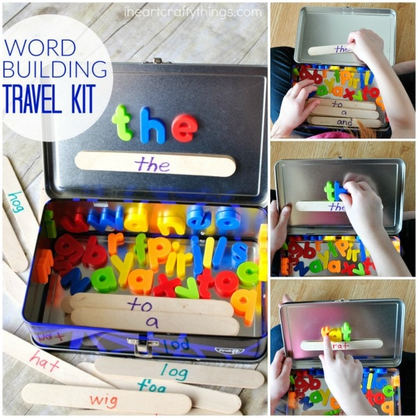 This Word Building Activity Travel Kit is a great way to add some hands-on learning and fun during long car rides or even travel around town! Use sight words, color words or word families to personalize this word building exercise!