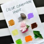 This simple color scavenger hunt for kids is so versatile. You can pretty much use it anywhere that you'll be enjoying outdoors. Make one for a trip to the park, for a weekend camping trip, or even for playing in your own backyard. Great summer activity for kids, outdoor activities for kids and color learning activity.